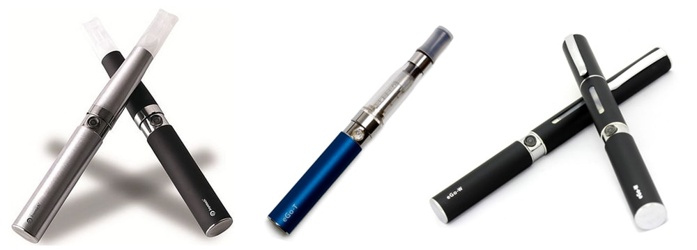 Left: eGo battery with liquid cartridge; Center: eGo battery with a 'tank' (clearomizer); Right: pen-style device with pen-like cap/cover.